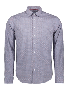 Haze & Finn Overhemd SHIRT AOP STRETCH MC11 0100 05 BLUE STAR