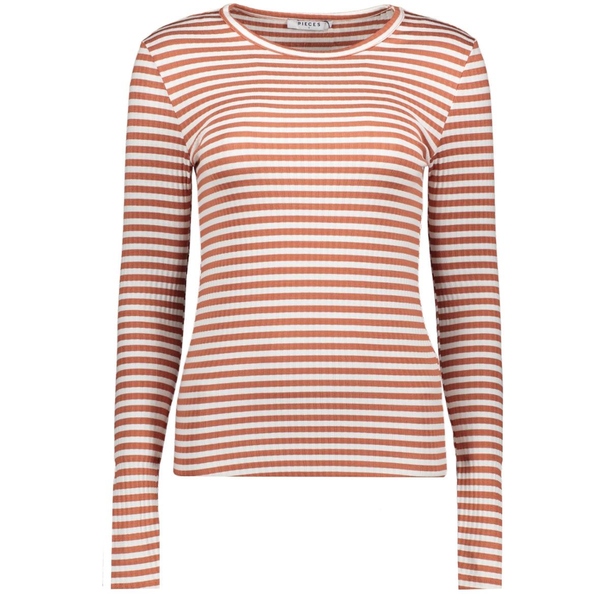 pcraya round neck blouse 17073091 pieces t-shirt bright white/redwood