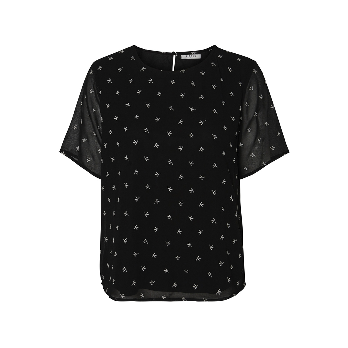 pcbahara ss top 17096349 pieces t-shirt black/embroidery