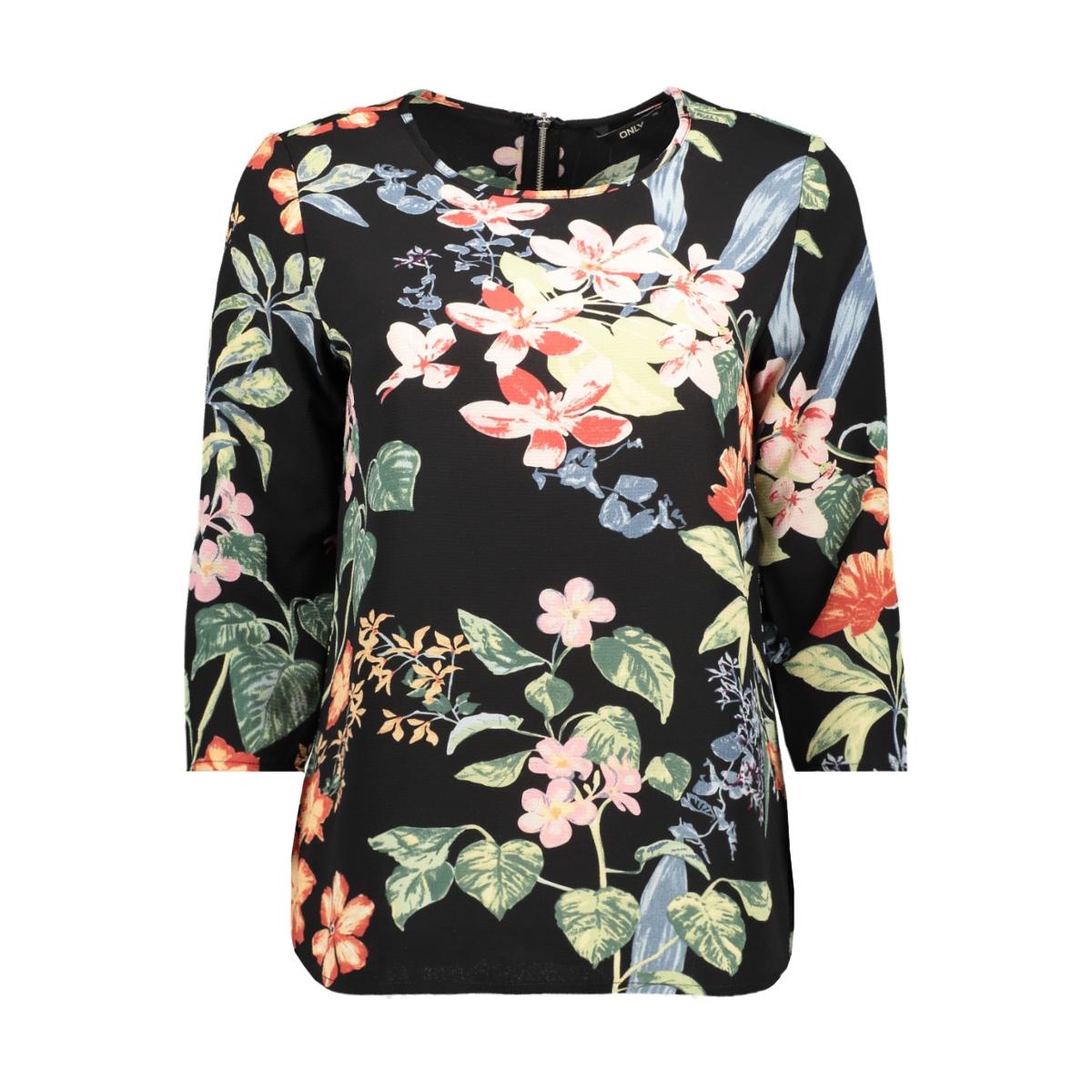 onlnova lux 3/4 sleeve top aop 4 wv 15172743 only blouse black/tropical flower