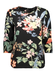 Only Blouse onlNOVA LUX 3/4 SLEEVE TOP AOP 4 WV 15172743 Black/TROPICAL FLOWER