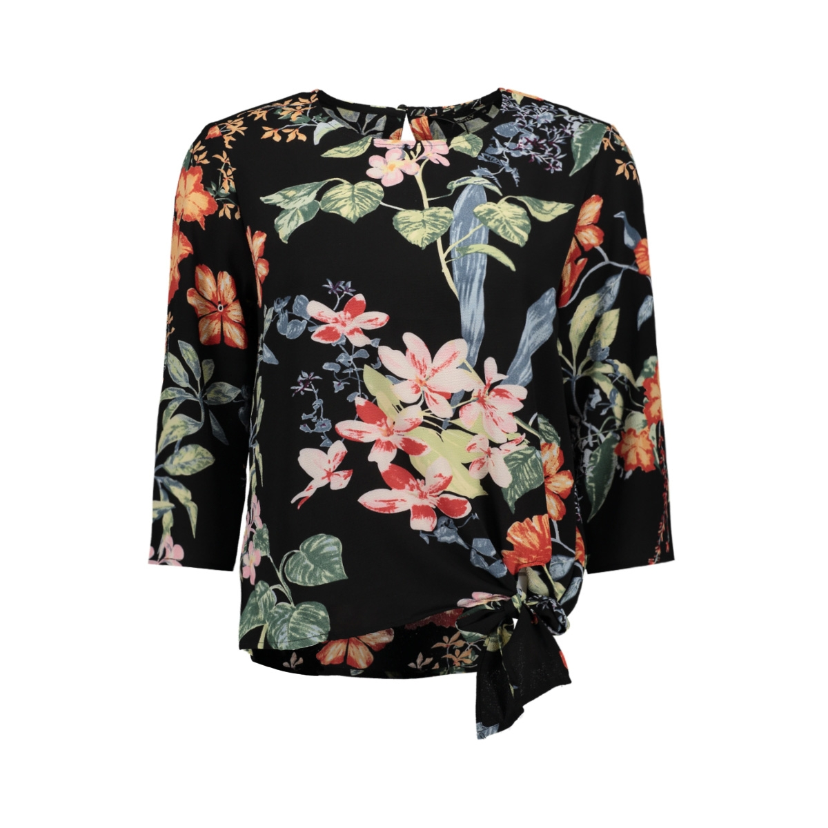 onlnova lux 3/4 sleeve knot top aop 15172750 only blouse black/tropical flowers