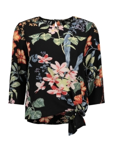 Only Blouse onlNOVA LUX 3/4 SLEEVE KNOT TOP AOP 15172750 Black/TROPICAL FLOWERS
