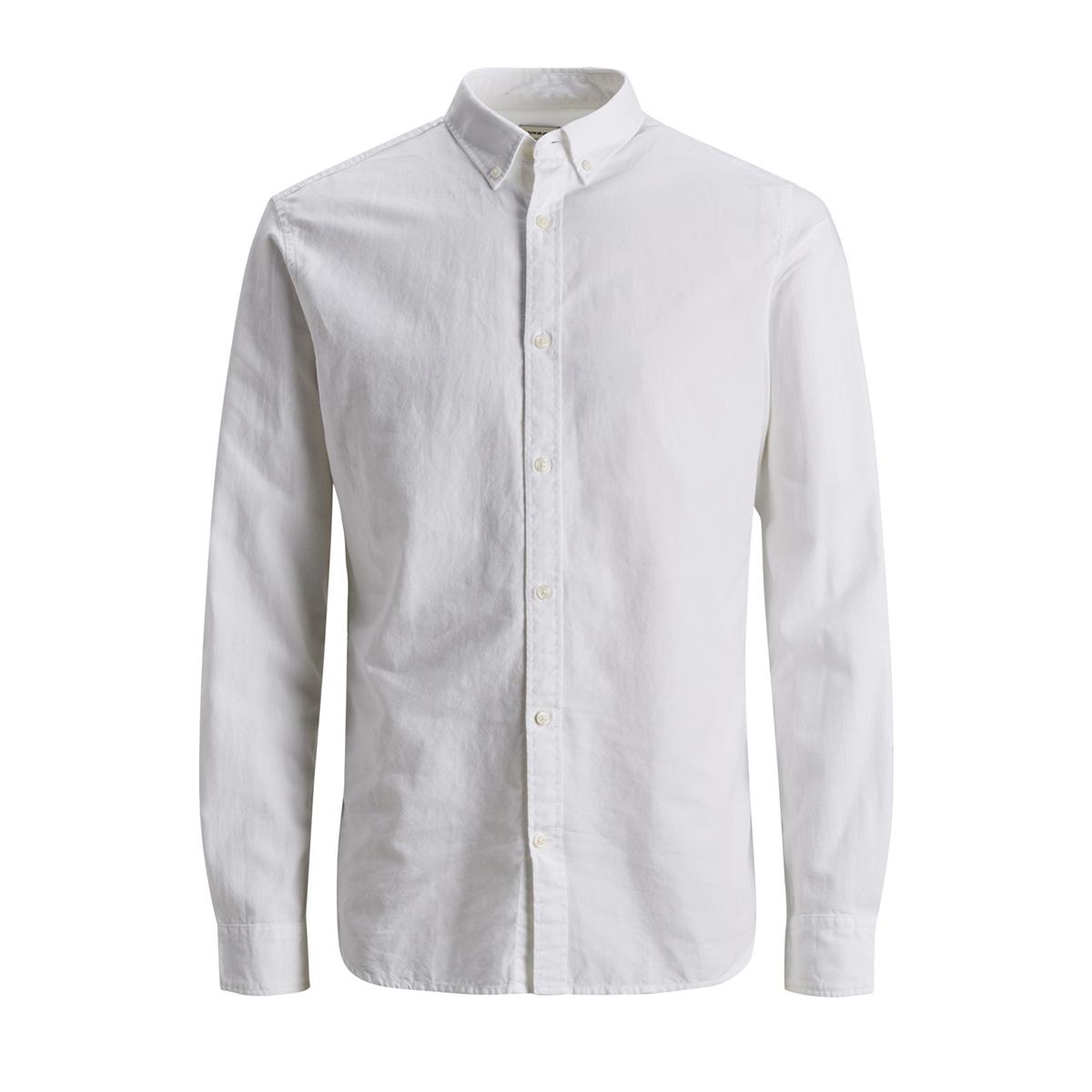 jjesummer shirt l/s noos 12146108 jack & jones overhemd white/slim fit