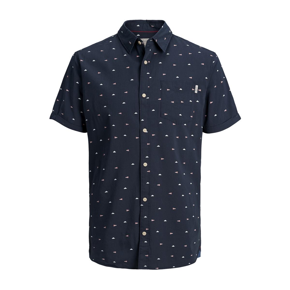 jorriver shirt ss 12147520 jack & jones overhemd total eclipse/slim