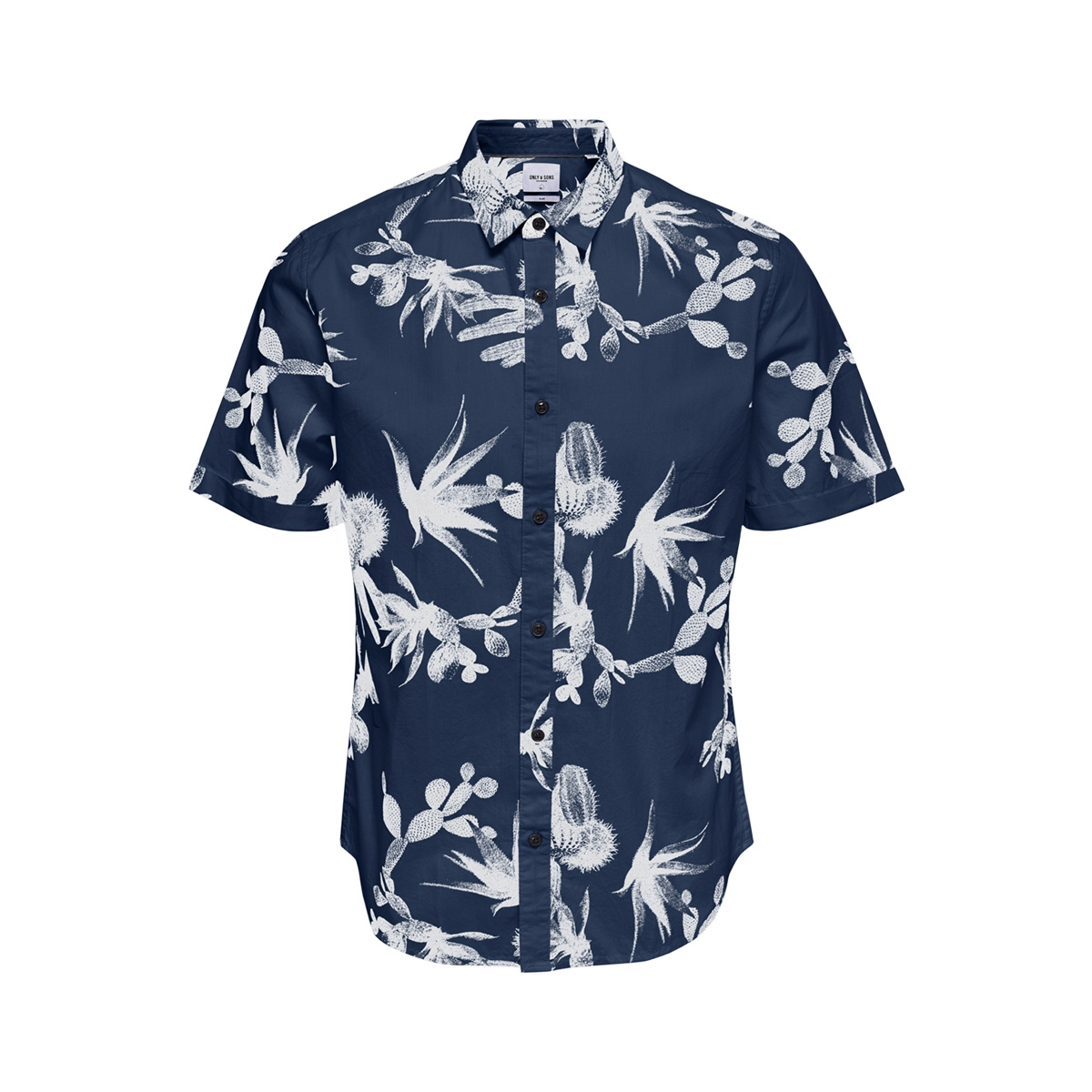 onsshakiri ss aop poplin shirt 22013083 only & sons overhemd majolica blue