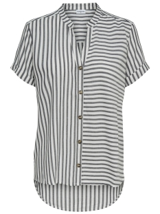 Jacqueline de Yong Blouse JDYKARLA S/S SHIRT WVN 15174419 Cloud dancer stripes/ Black