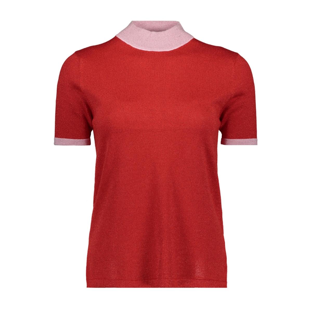 vmlucile contrast ss highneck blous 10211898 vero moda t-shirt fiery red/dtm lurex