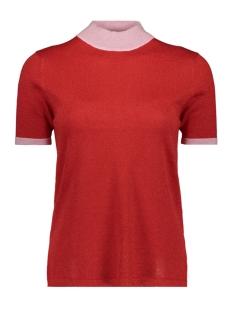 Vero Moda T-shirt VMLUCILE CONTRAST SS HIGHNECK BLOUS 10211898 Fiery Red/DTM LUREX