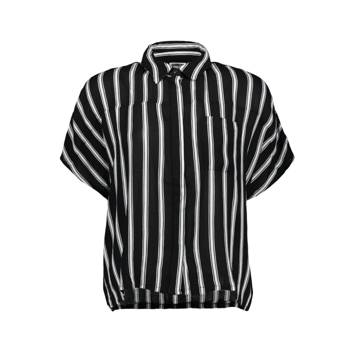nmmelissa s/s shirt 2 27006195 noisy may blouse black stripes/ snow white