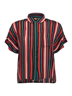 nmmelissa s/s shirt 2 27006195 noisy may blouse mandarin red /snow shite