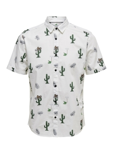 Only & Sons Overhemd onsSANE SS AOP POPLIN SHIRT 22013084 White