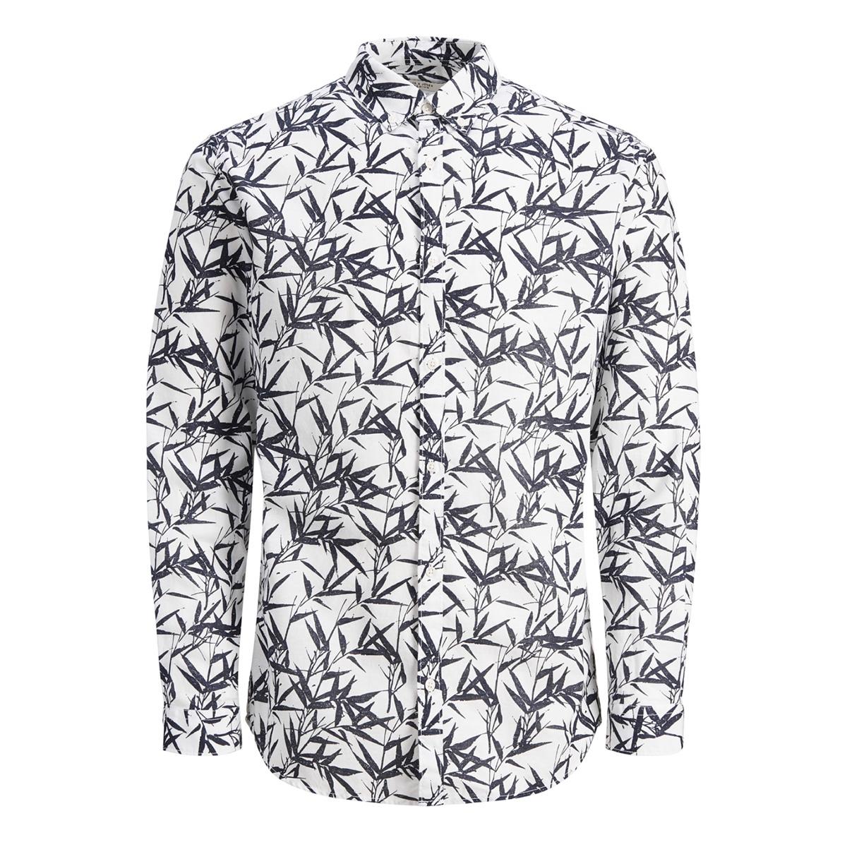jprsummer print shirt l/s bd s19 12148054 jack & jones overhemd white/slim fit