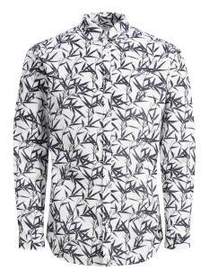 Jack & Jones Overhemd JPRSUMMER PRINT SHIRT L/S BD S19 12148054 White/SLIM FIT