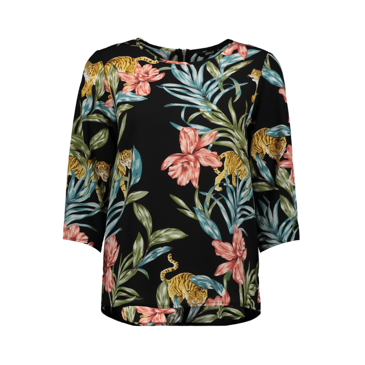 onlnova 3/4 sleeve top aop  lux  wv 15177700 only t-shirt black/jungle zoo