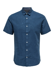 Only & Sons Overhemd onsCAIDEN SS LINEN SHIRT RE 22009885 Majolica Blue