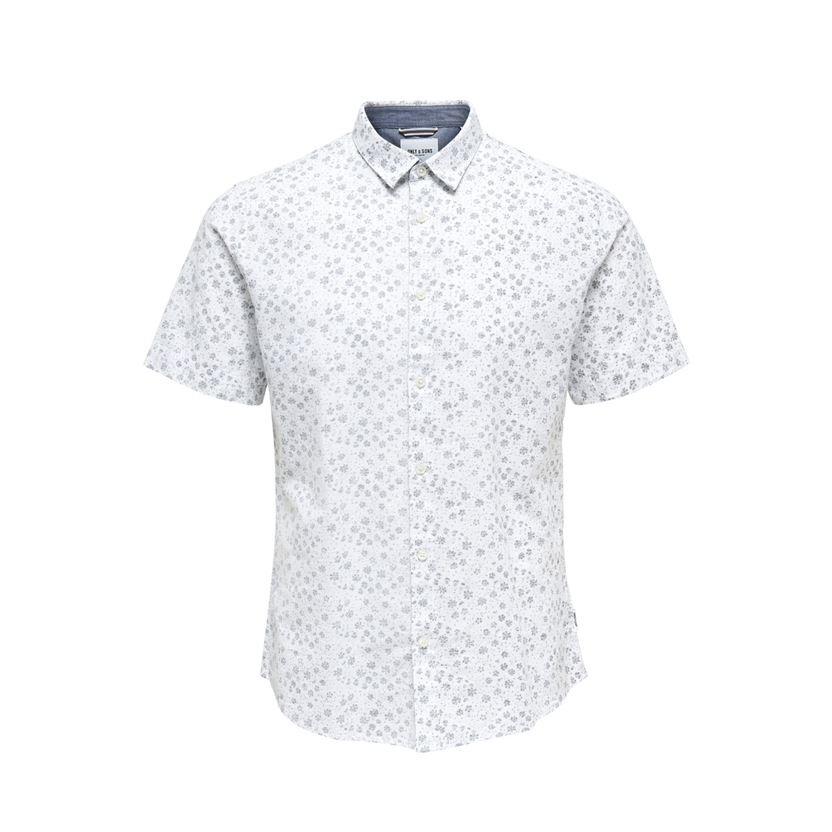 onscaiden ss aop linen shirt re 22012661 only & sons overhemd white