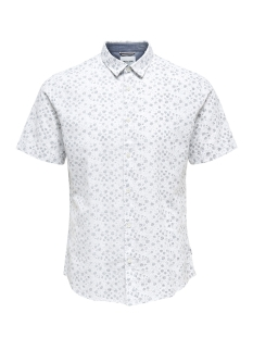Only & Sons Overhemd onsCAIDEN SS AOP LINEN SHIRT RE 22012661 White