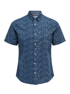 Only & Sons Overhemd onsCAIDEN SS AOP LINEN SHIRT RE 22012661 Majolica Blue