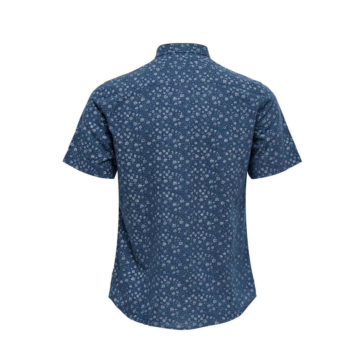 onscaiden ss aop linen shirt re 22012661 only & sons overhemd majolica blue