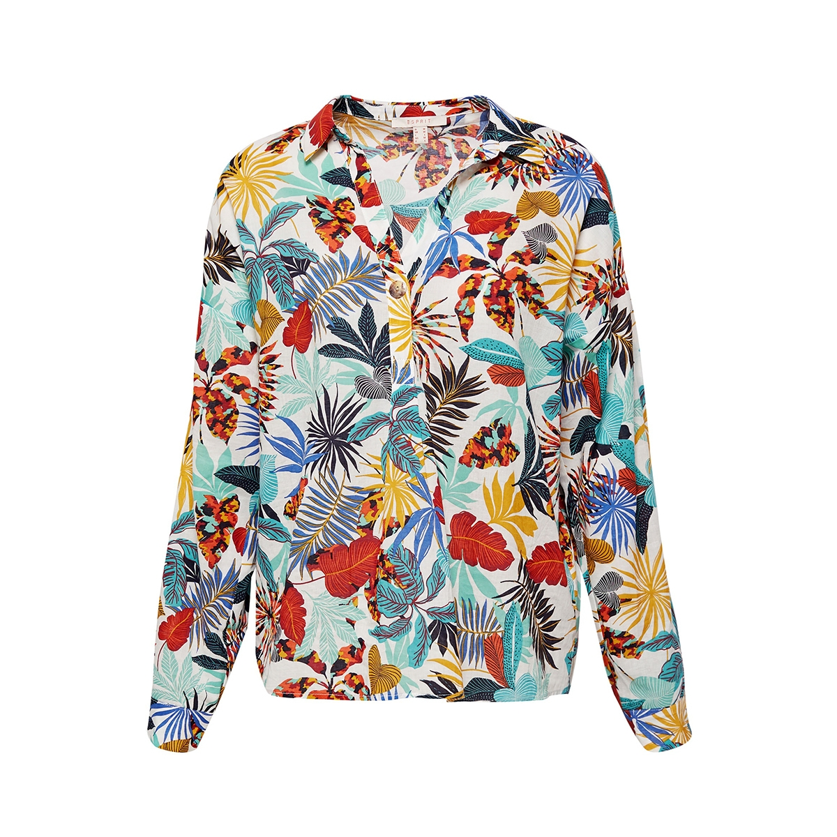 blouse met print en oprolbare mouwen 059ee1f003 esprit blouse e110