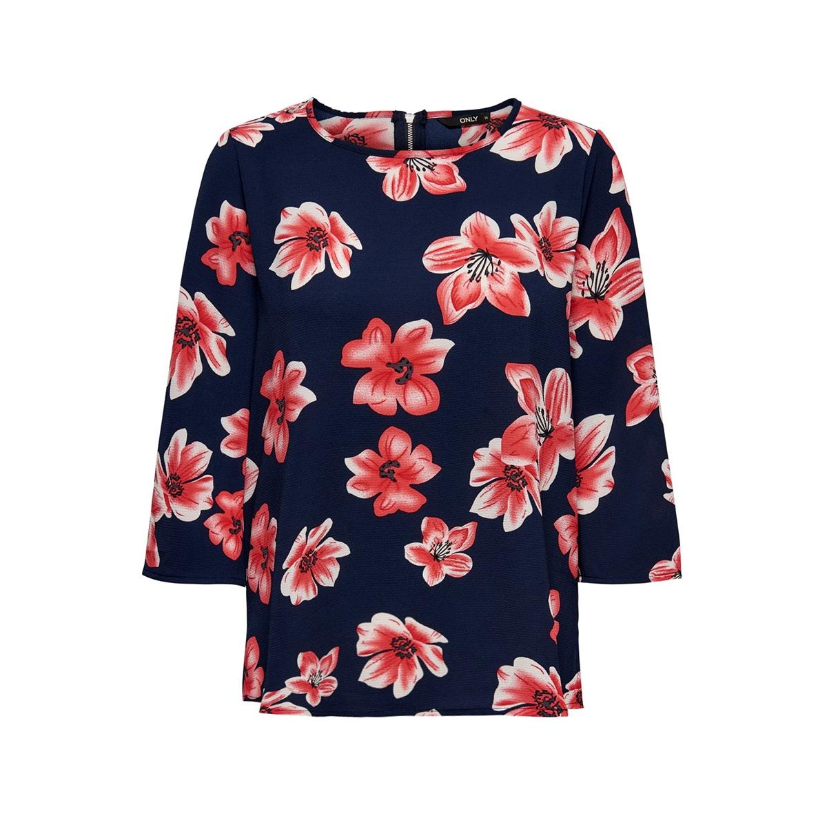 onlnova 3 4 sleeve top aop  lux  wv 15177700 only blouse night sky/berlin flower
