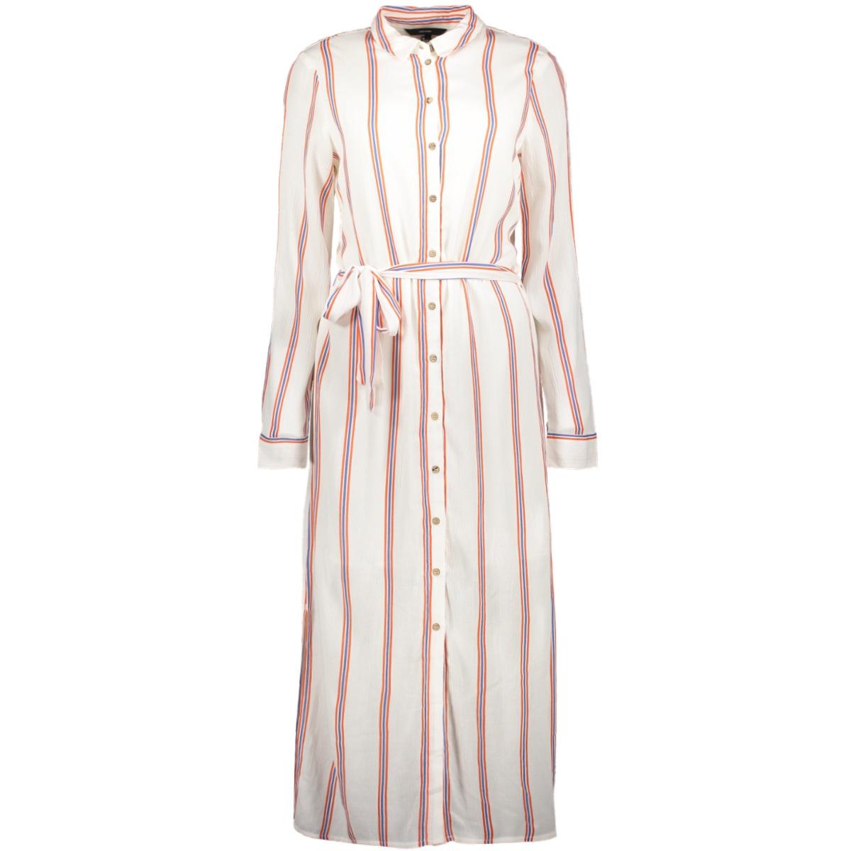 vmhanna ls long shirt lining  lcs 10219401 vero moda jurk snow white/emberglow