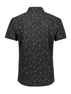 jprkingsfield print shirt s/s 12154826 jack & jones overhemd black denim/slim fit