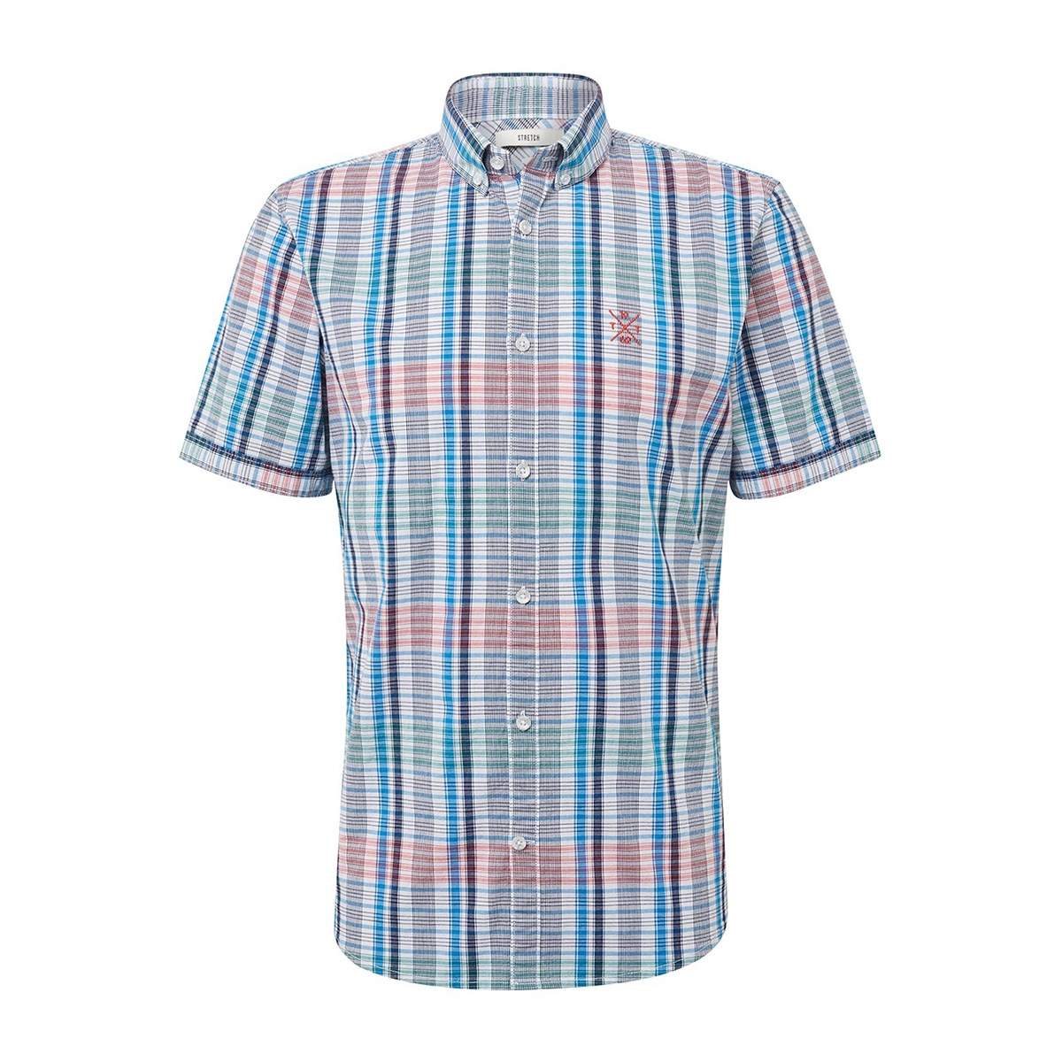 geruit overhemd met korte mouwen 1010871xx10 tom tailor overhemd 17668