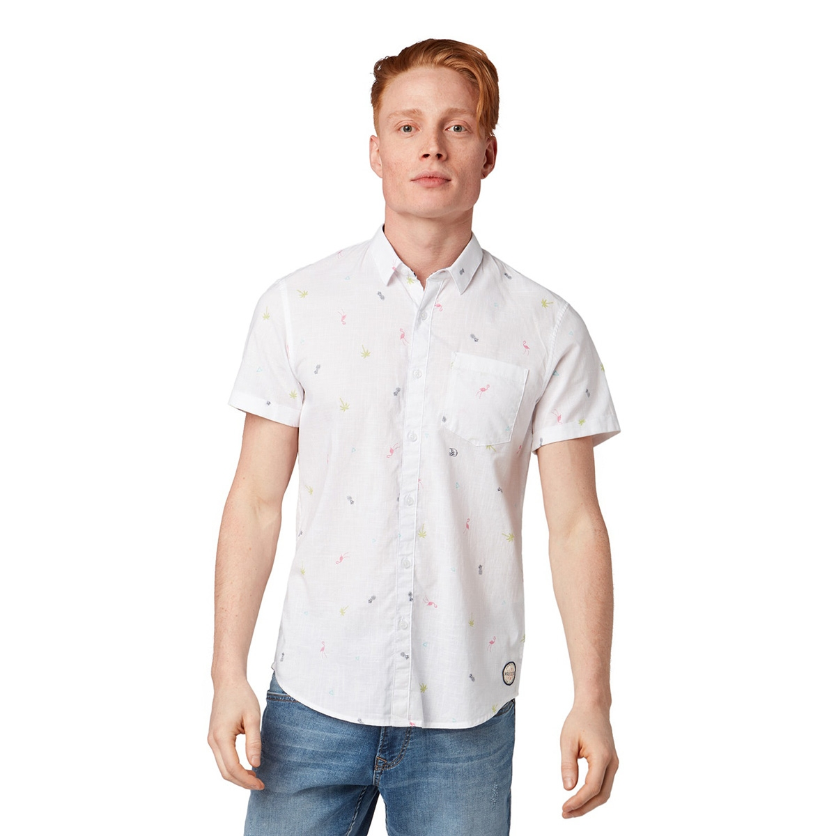 overhemd met all over print 1011877xx12 tom tailor overhemd 18288