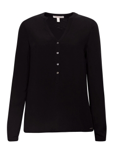 Esprit Blouse HENLEY BLOUSE MET OPROLBARE MOUWEN 998EE1F802 E001 BLACK