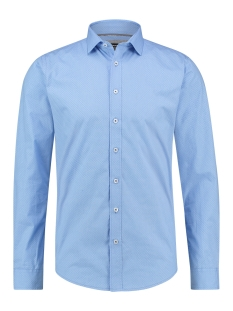 Haze & Finn Overhemd SHIRT AOP STRETCH MC12 0100 20 BLUE BIRD