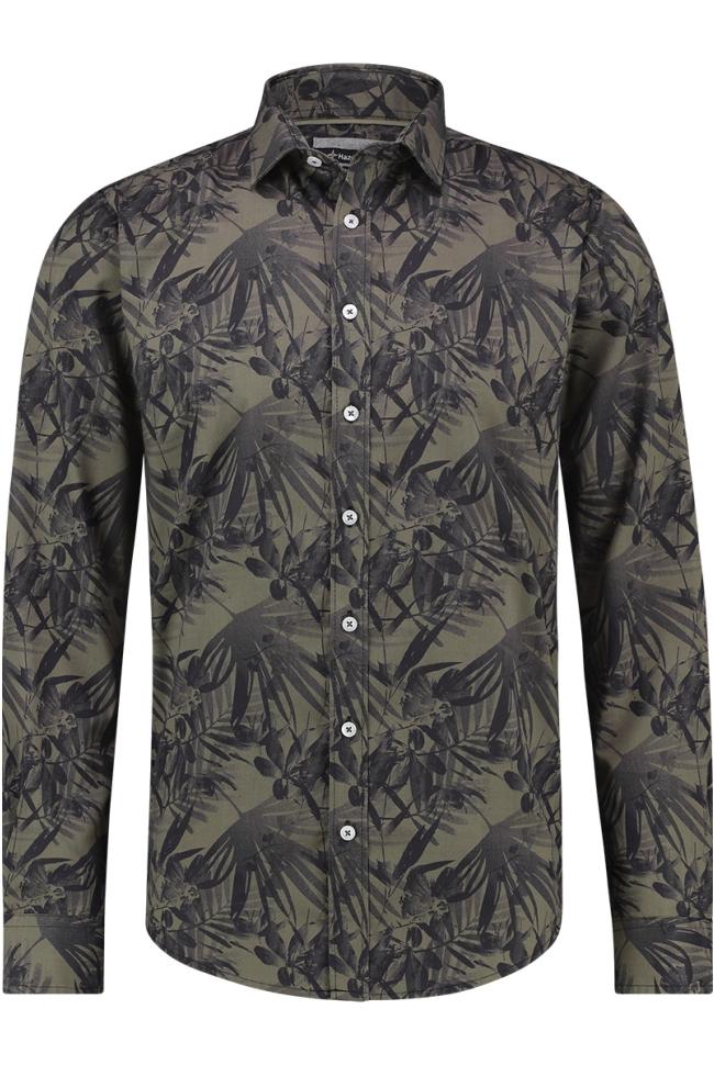 shirt aop stretch mc12 0100 22 haze & finn overhemd autumn jungle