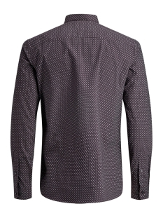 jprblackpool shirt l/s au19 sts 12158434 jack & jones overhemd dark purple/slim fit