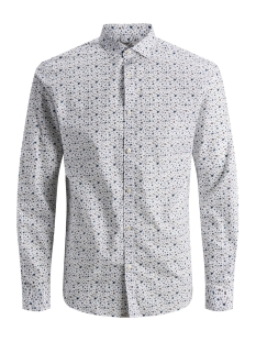 jprblackpool shirt l/s au19 sts 12158434 jack & jones overhemd white/slim fit
