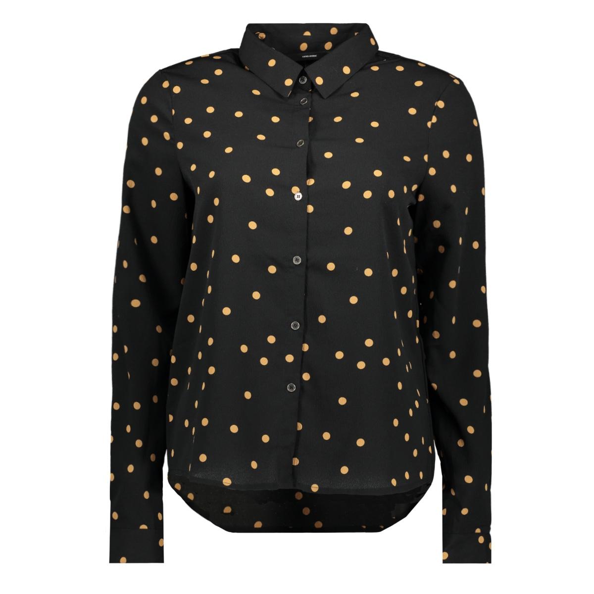 vmviola cilvia l/s midi shirt 10222019 vero moda blouse black/tobacco brown dot