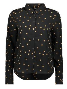 vmviola cilvia l/s midi shirt wvn l 10222019 vero moda blouse black/tobacco brown dot