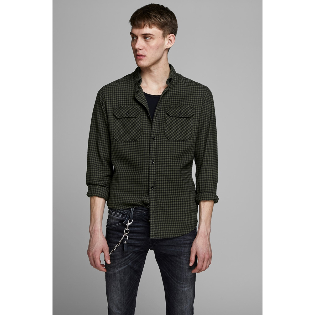 jcorussel shirt ls worker 12157792 jack & jones overhemd forest night