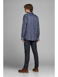 jprlogo twist shirt l/s sts 12158301 jack & jones overhemd navy blazer/slim fit
