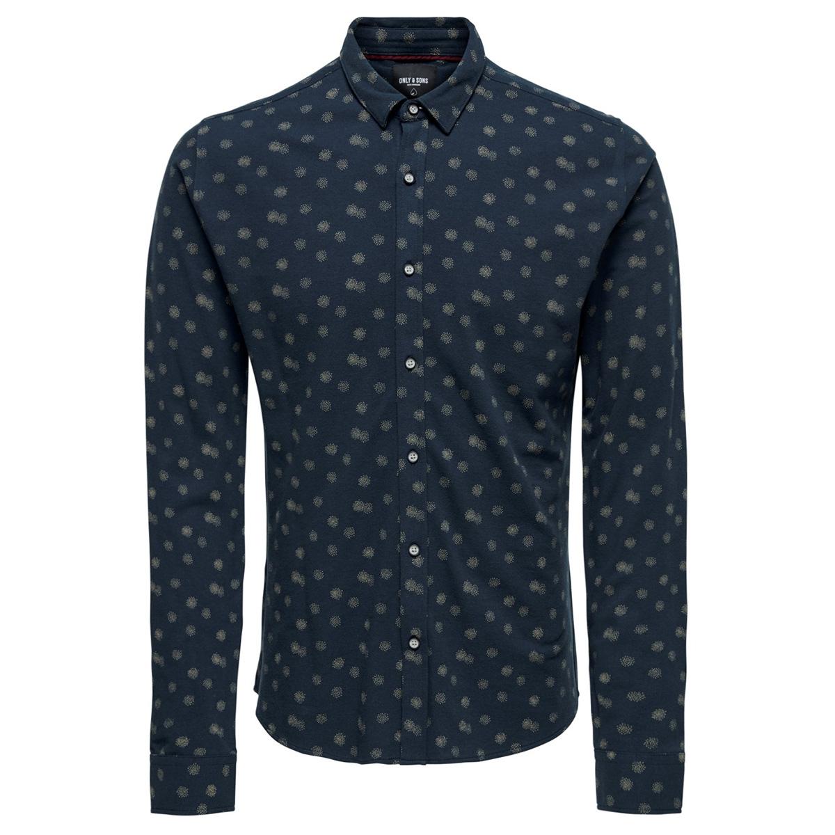 onscuton ls knitted melange aop shi 22013847 only & sons overhemd dress blues