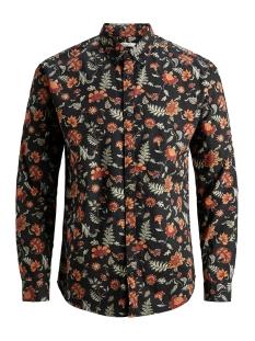jprleon print shirt l/s 12158438 jack & jones overhemd fired brick/slim fit aop