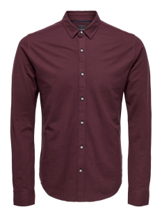 onscuton ls knitted melange shirt r 22009904 only & sons overhemd zinfandel/solid dye