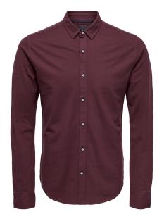 onscuton ls knitted melange shirt r 22009904 only & sons overhemd zinfandel/solid dye