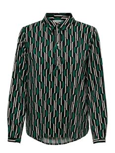 Jacqueline de Yong Blouse JDYNOON L/S SHIRT WVN 15184615 Black/GREEN GEOM