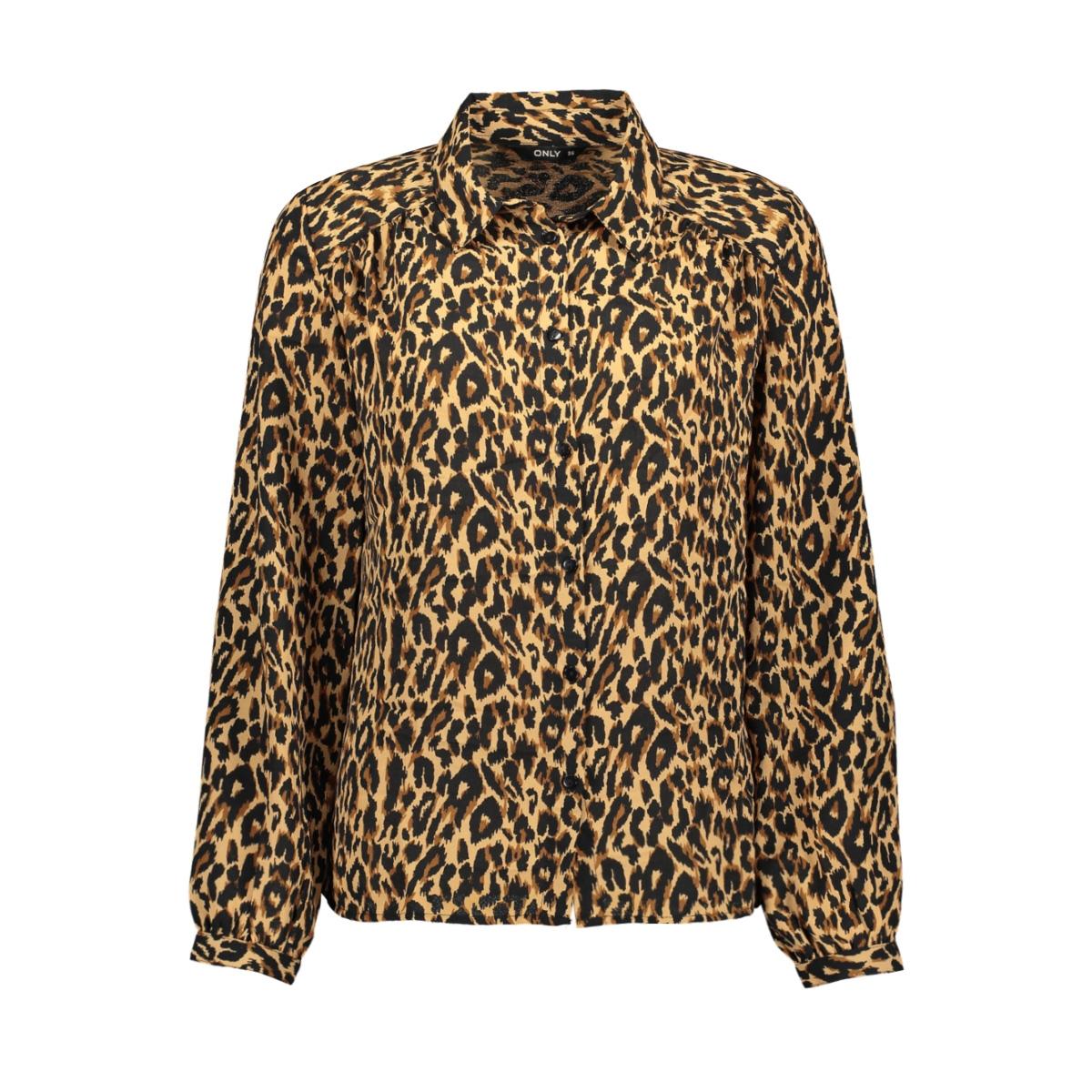 onldemi l/s shirt wvn 15186411 only blouse bone brown/dandy leo