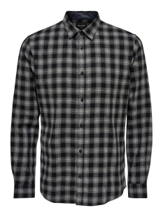 onsemil ls flannel check shirt 22014533 only & sons overhemd medium grey melange