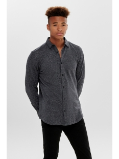 onsgabriel ls knitted melange shirt 22015055 only & sons overhemd dark navy