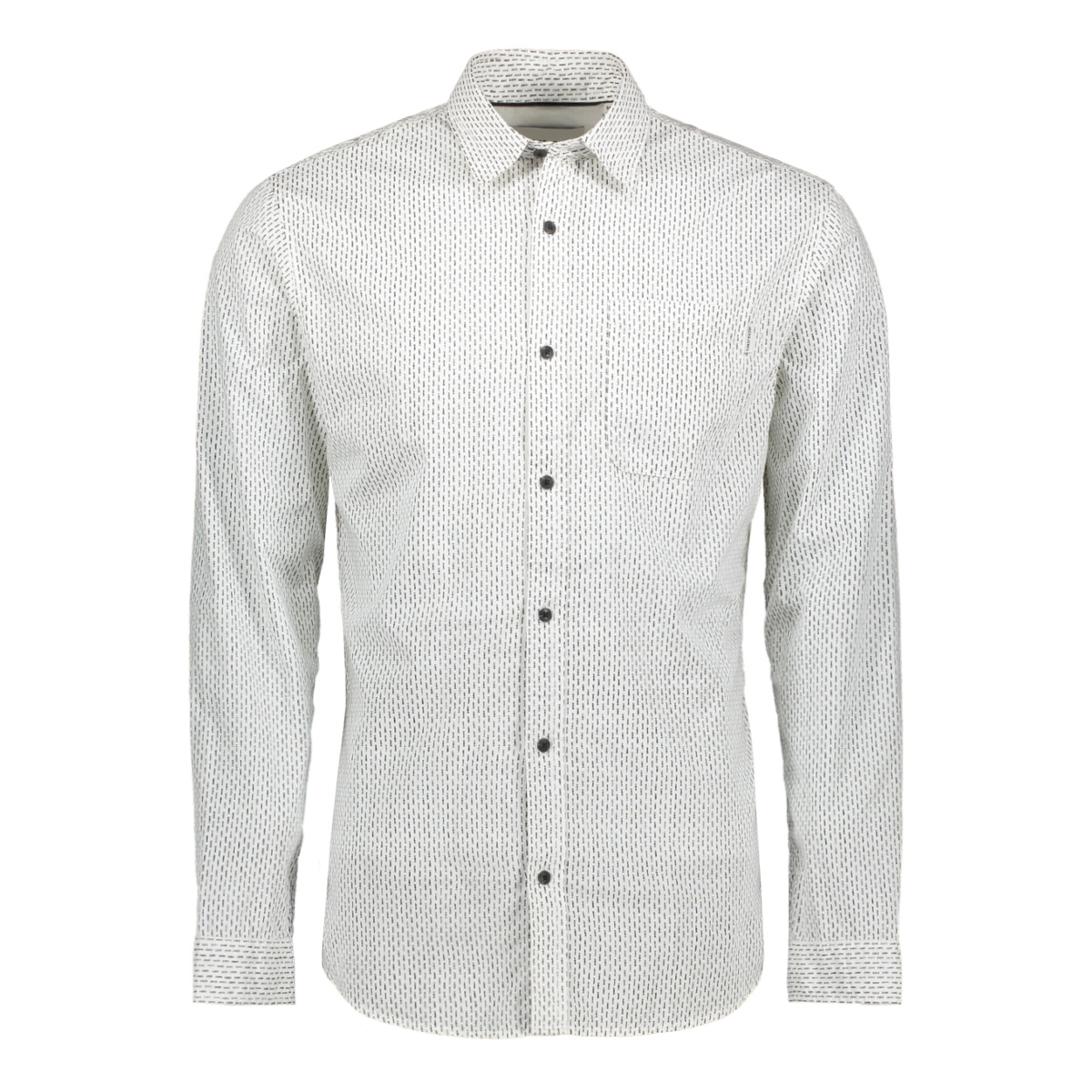 jcogladstone  shirt ls one pocket 12161661 jack & jones overhemd white/slim bla