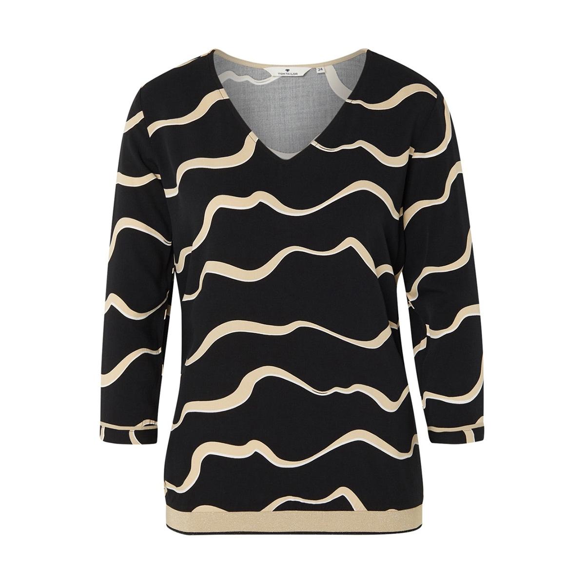 blouse met v hals en driekwart mouw 1016785xx70 tom tailor blouse 21553