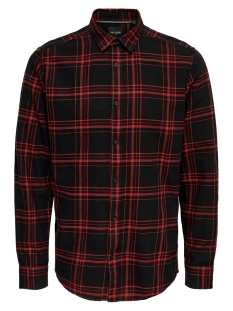 onsothan ls y/d check shirt 22011280 only & sons overhemd pompeian red